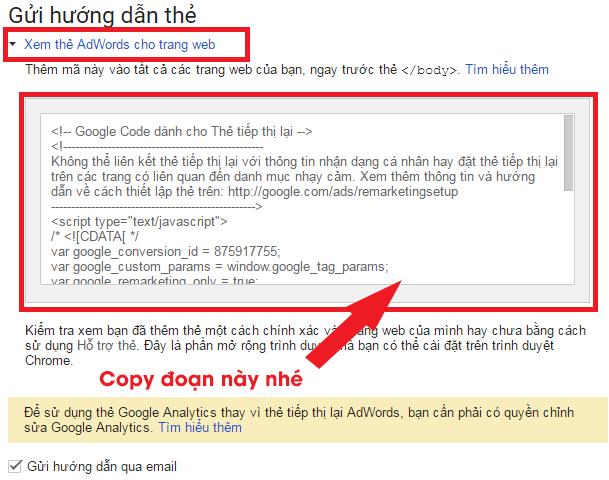 Copy đoạn mã được google cung cấp
