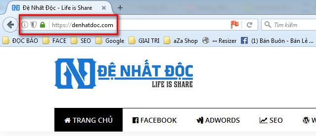 Website được cài đặt Https với đặc chưng là ổ khóa màu xanh
