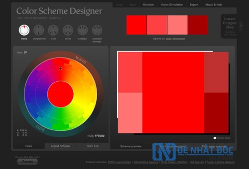 Website phối màu Color Scheme Designer