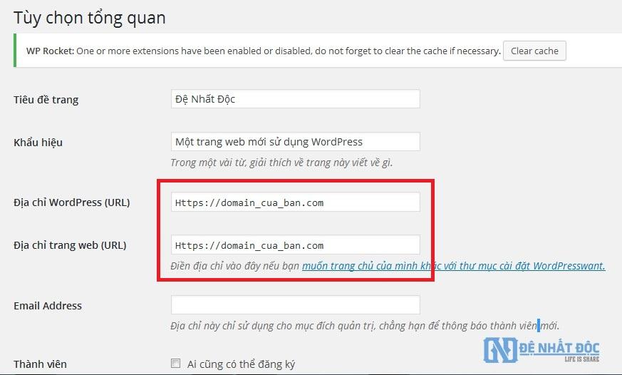 Thay đổi URL cho website