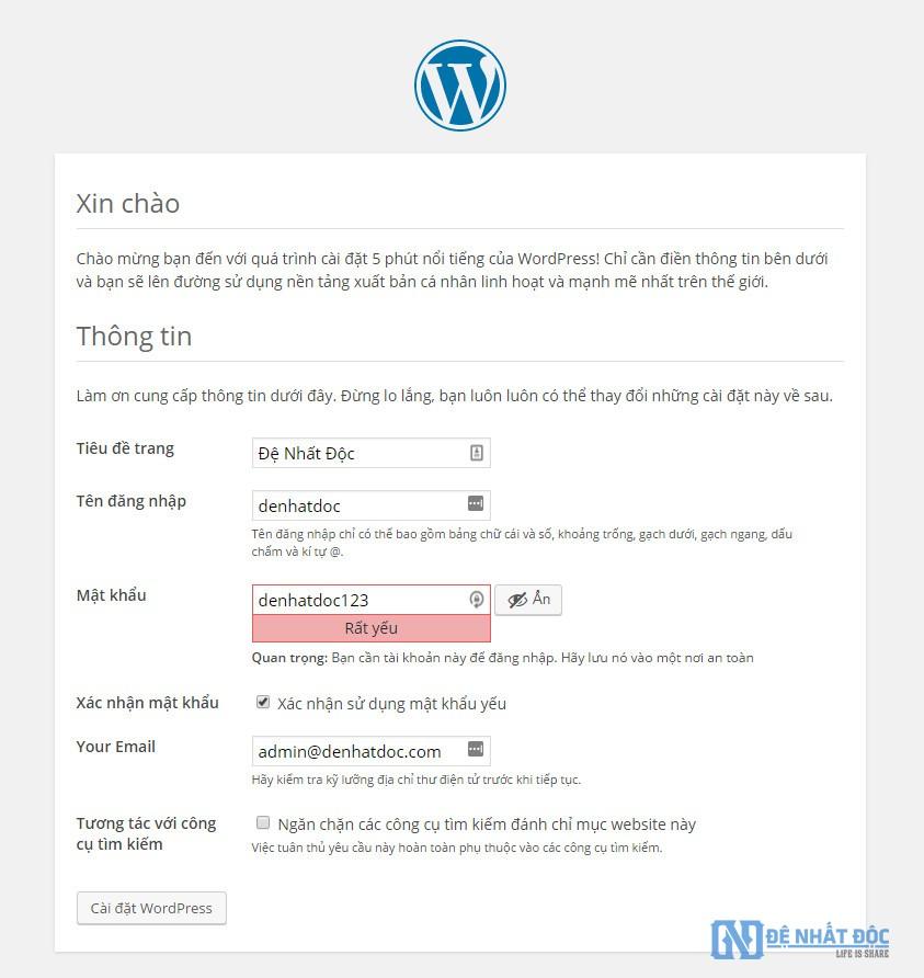Thiết lập các thông tin cơ bản cho website