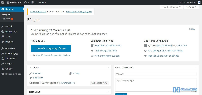 Giao diện trang quản trị của WordPress của bạn.