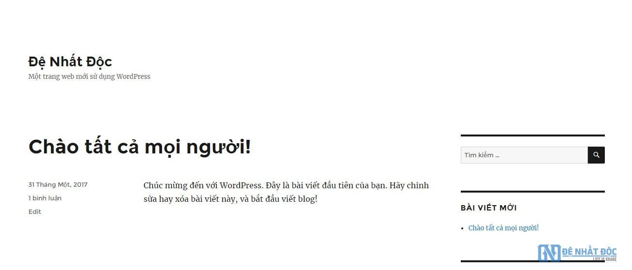 Giao diện trang chủ website