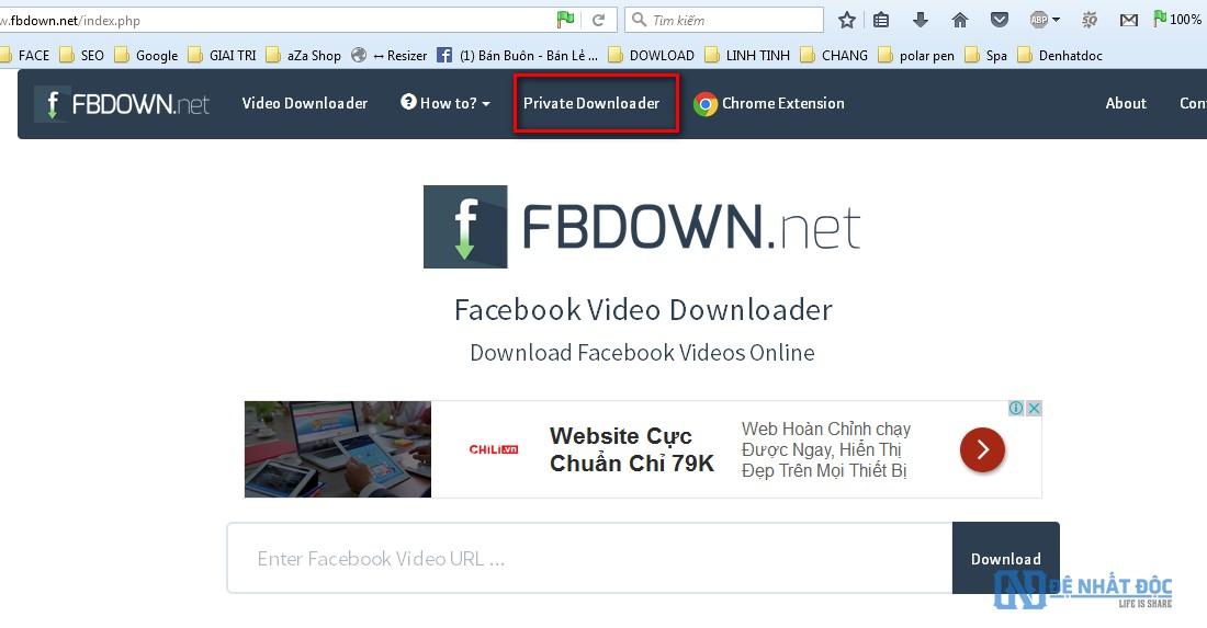 Chọn chế độ Private Downloader