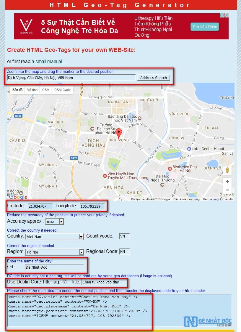 Tạo thẻ Geo Meta Tag cho website