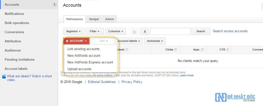 Click nút Account để tạo tài khoản Google AdWords con