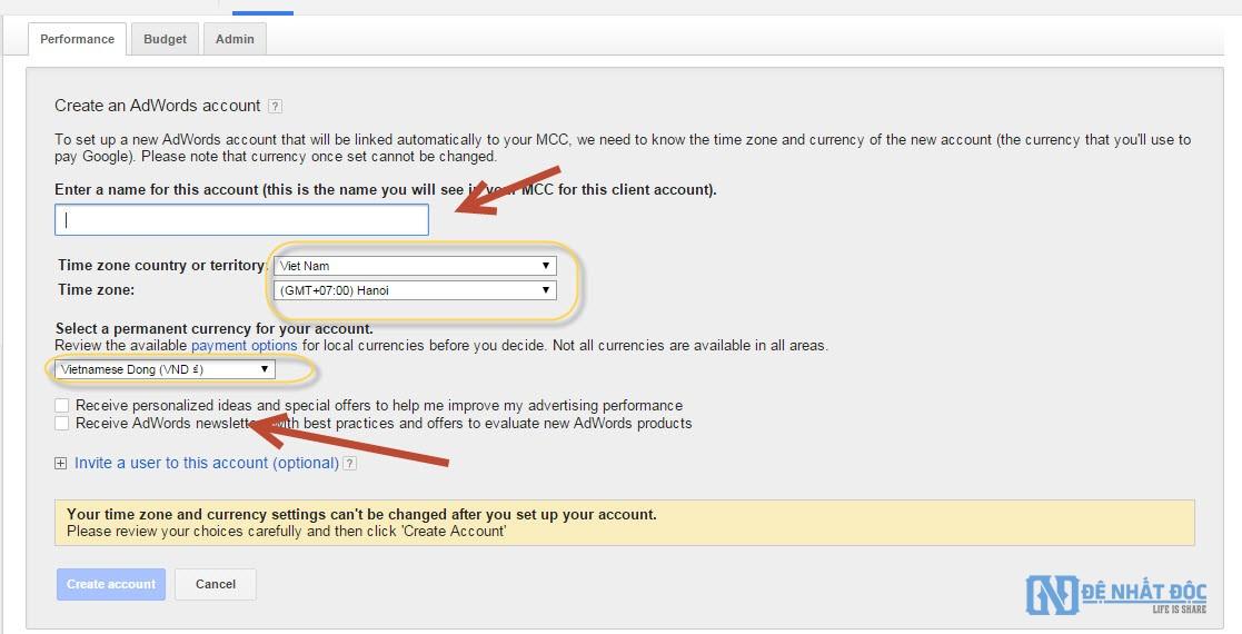 Điền thông tin tài khoản theo mẫu có sẵn