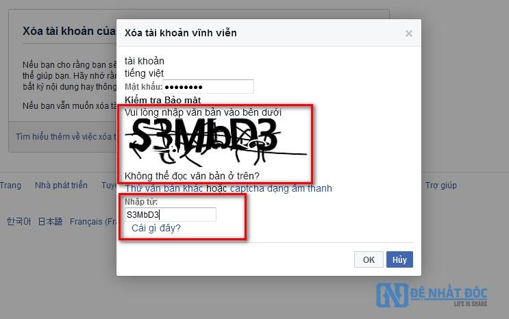 Các bạn nhập mật khẩu Facebook và hoàn thành mã Capcha nhé