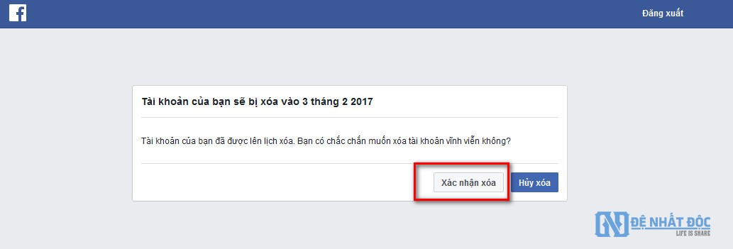 Các bạn nhớ chọn Hủy xóa để hủy quá trình xóa tài khoản Facebook vĩnh viễn nhé