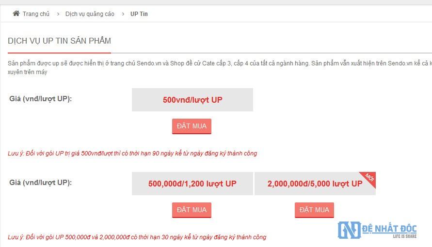 Bảng giá các gói Up tin của Sendo