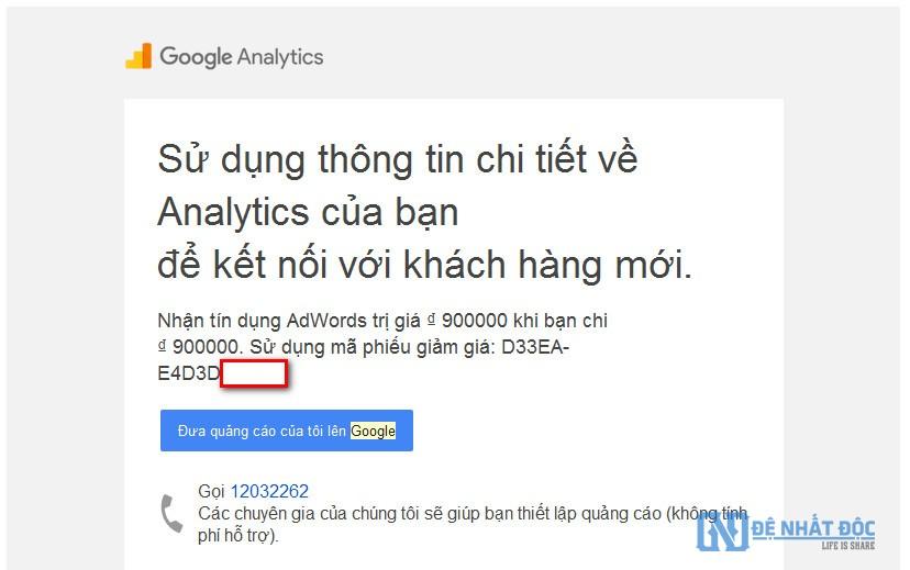 Cách lấy mã khuyến mãi Google AdWords qua các kênh Google Analytics