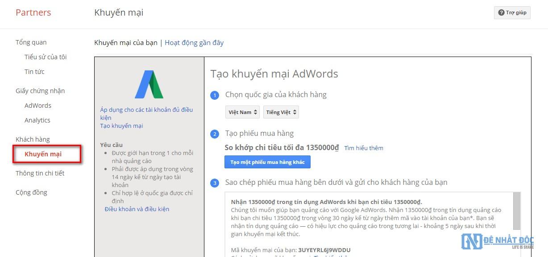Nhận mã khuyến mãi Google Adwords khi trở thành Google Partner