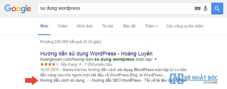 Website hiển thị site link trên google