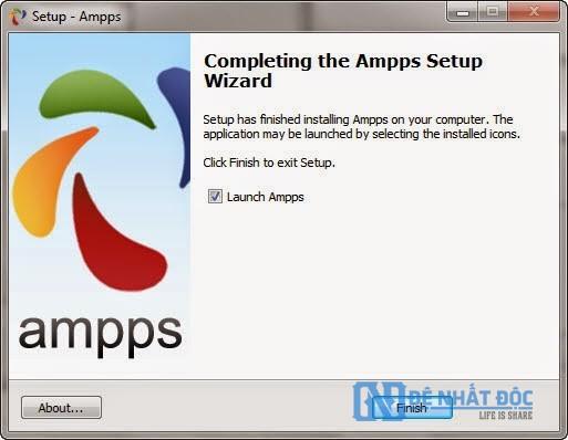 Quá trình cài đặt Ampps thành công