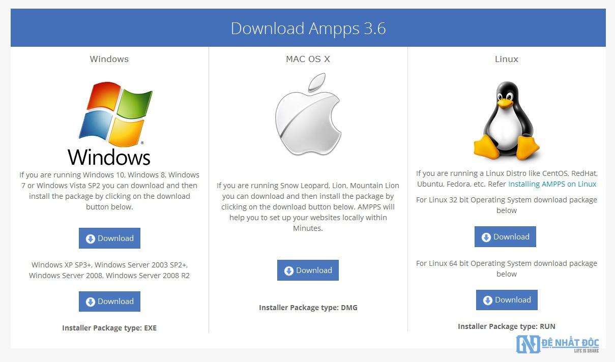 Các bạn chọn phiên bản Ampps phù hợp với hệ điều hành của bạn nhé