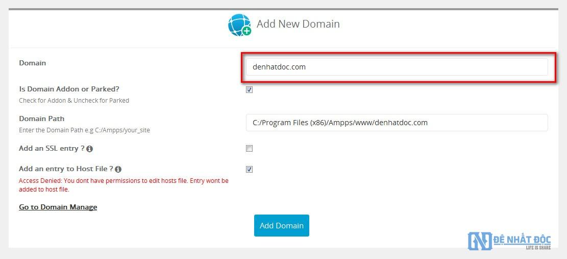 Thêm domain vào Localhost