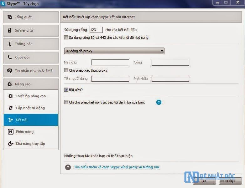 Thay đổi cổng 80 cho Skype