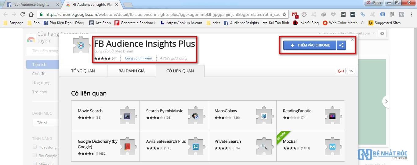 Truy cập vào link cuối bài và cài đặt FB Audience Insights Plus