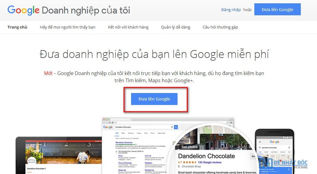 Truy cập trình doanh nghiệp sau đó chọn Đưa lên Google