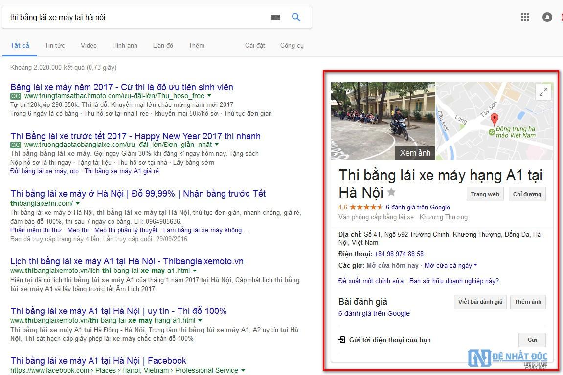 Hình ảnh doanh nghiệp xuất hiện trên Google Map