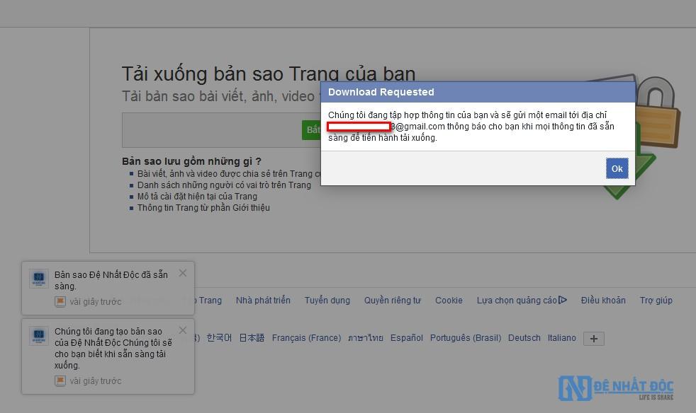 Dữ liệu Fanpage Facebook được chuyển về hòm email đăng nhập