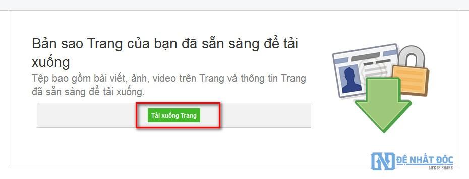 Click vào Tải xuống Trang để bắt đầu quá trình tải toàn bộ dữ liệu của bạn về máy tính nhé