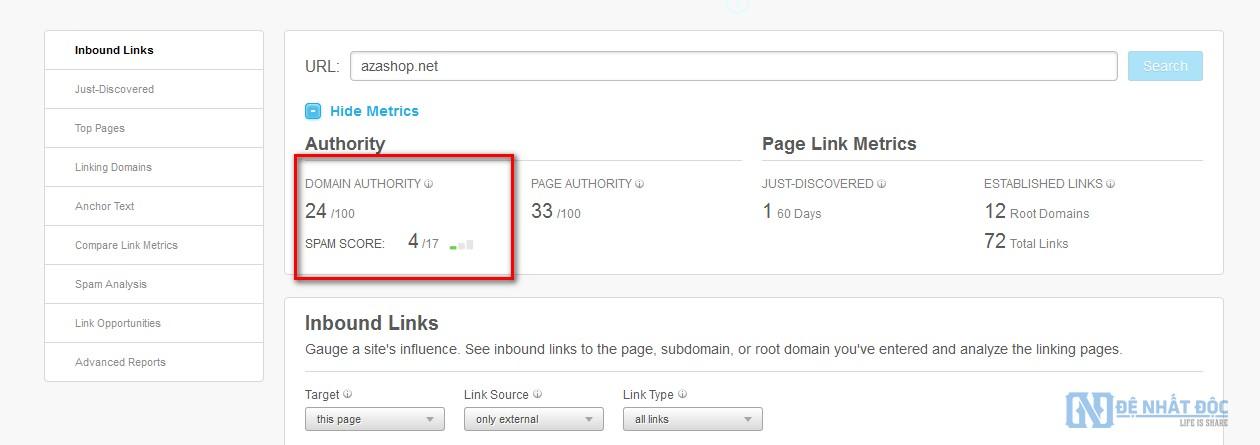 Sử dụng website bên thứ 3 kiểm tra chỉ số Domain Authority