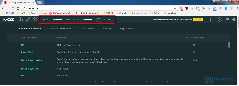 Sử dụng extensions Mozbar của Seo Moz kiểm tra chỉ số Domain Authority