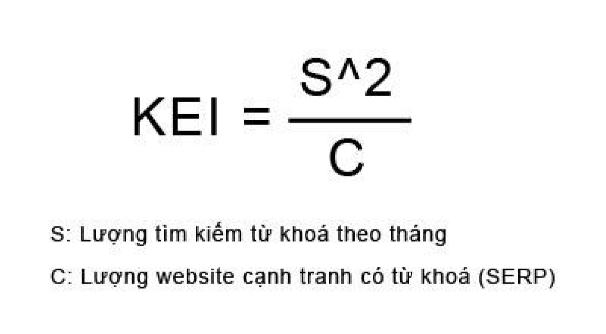 Công thức tính chỉ số KEI (Keyword Efficiency Index)