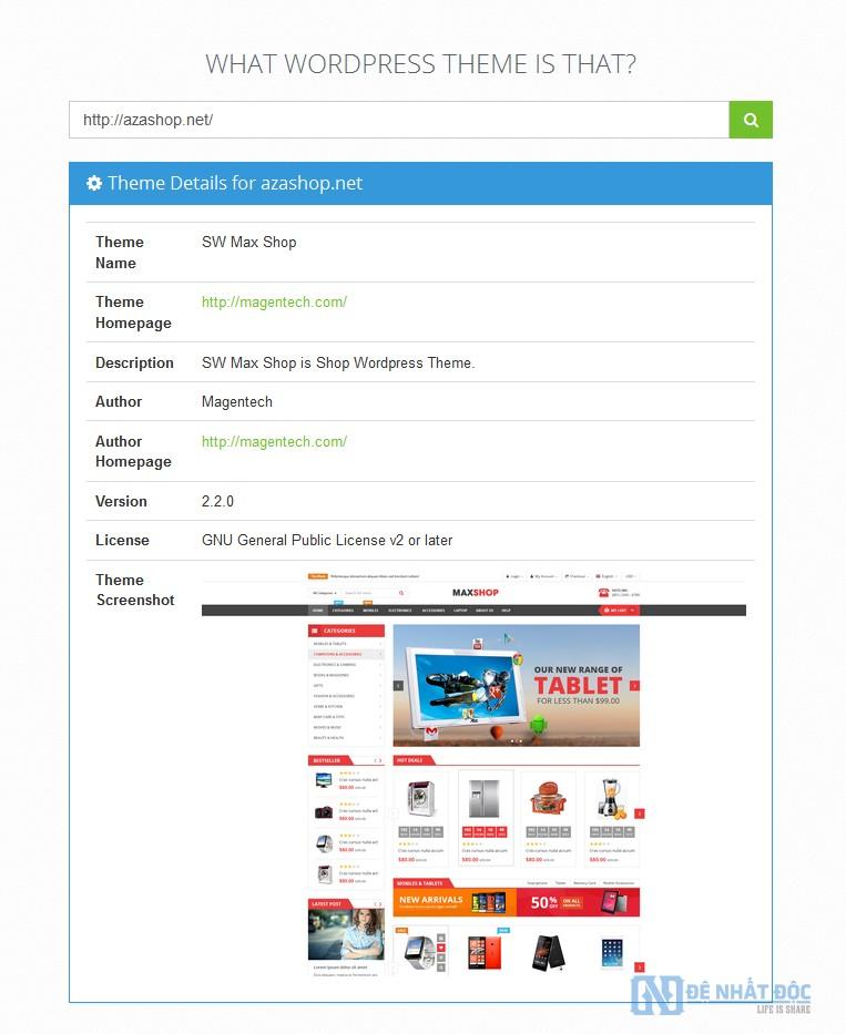Tìm theme và Plugin Website bất kỳ với What WordPress Theme Is That
