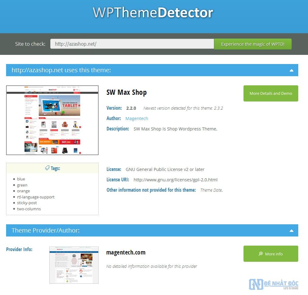 Tìm theme và Plugin Website bất kỳ với WordPress Theme Detector
