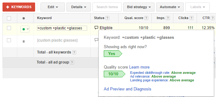 Điểm chất lượng trong chiến dịch Google Adwords